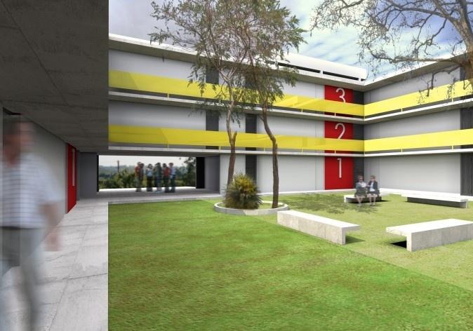 Pátio interno. Concurso Habitação para Todos - CDHU. Edifícios de 3 pavimentos - 1º Lugar.<br />Autores do projeto  [equipe vencedora]