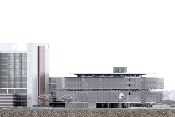 Centro de Referência em Empreendedorismo do Sebrae-MG, fachada Av. Barão Homem de Melo, 3º lugar. Arquiteto Enrique Hugo Brena, 2008<br />Desenho escritório