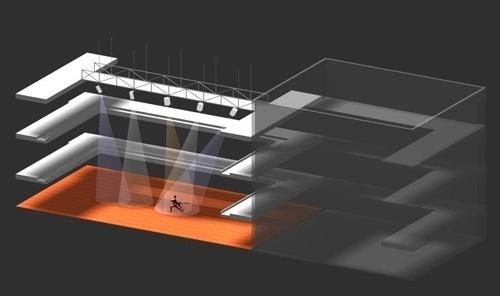 Perspectiva black-box - teatro experimental<br />Imagem do autor do projeto
