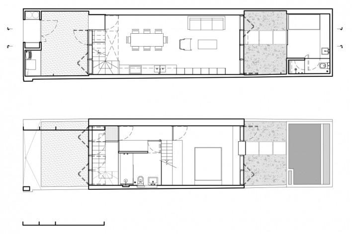 Casa Schendel, plantas térreo primeiro pavimento, São Paulo SP Brasil, 2017. Arquitetos Marina Acayaba e Juan Pablo Rosenberg / AR Arquitetos<br />Imagem divulgação  [Acervo AR Arquitetos]