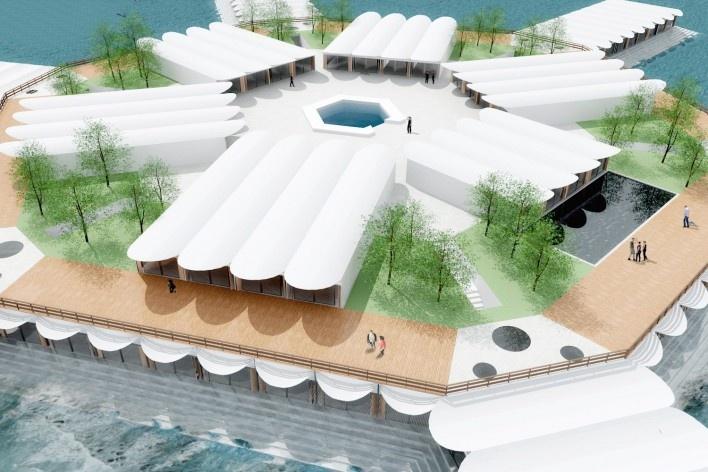 Hotel em Paquetá, modelo eletrônico elaborado pelos alunos. Sérgio Bernardes