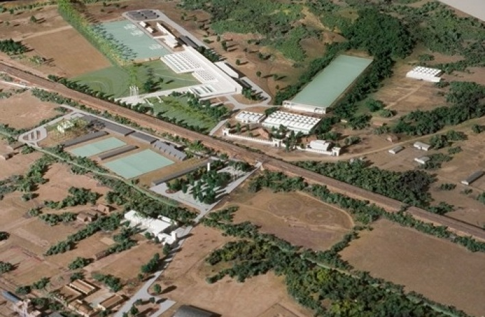 Vista aérea da maquete, en destaque o Centro de Tiro Esportivo e o Centro de Tiro com Arco<br />Imagem dos autores do projeto