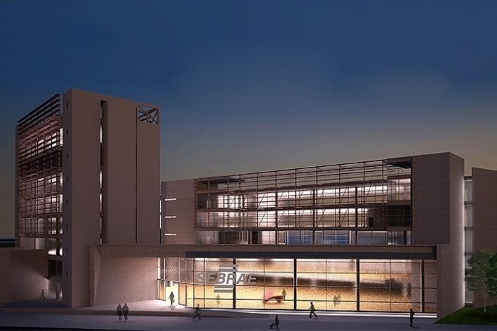 Centro de Referência em Empreendedorismo do Sebrae-MG, vista noturna, 2º lugar. Arquiteto Francisco Spadoni, 2008<br />Desenho escritório
