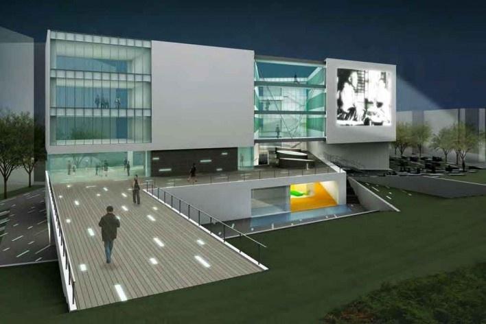 Escola de Administração, fachada com projeções de cinema à noite, Josai International University, Saitama-ken, Japão, 2003-2006, Studio Sumo<br />Imagem divulgação  [Studio Sumo]