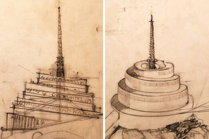 """The Gordon Strong Automobile Objective, Frank Lloyd Wright, mostra """"The Human Insect: Antenna Architectures 1887-2017""""<br />Foto Ana Tagliari / Wilson Florio, 2018"""