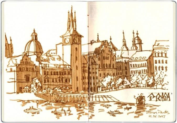 Ponte Carlo IV, Praga, República Tcheca<br />Desenho de Petterson Dantas