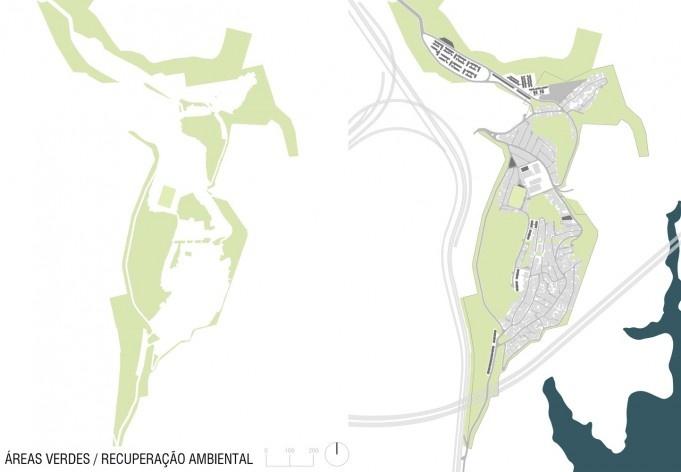 Diagrama de projeto. Áreas verdes e recuperação ambiental. Projeto de Urbanização Integrada<br />Fonte Boldarini Arquitetos Associados