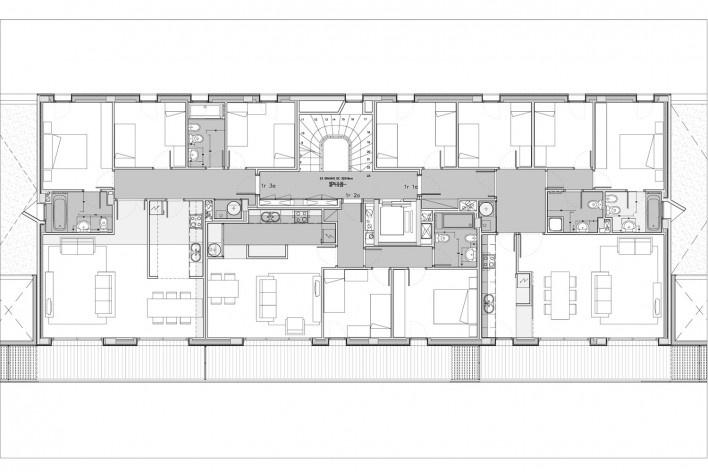Conjunto Habitacional Fira de Barcelona – L'Hospitalet de Llobregat, planta tipo do edifício, Barcelona 2009. ONL Arquitectura<br />Imagem divulgação