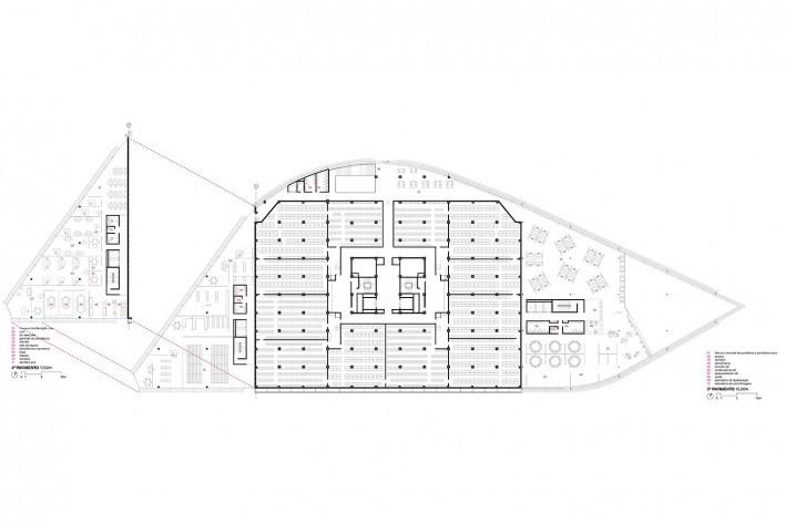 Concurso Anexo da Biblioteca Nacional, planta pavimento 3, Rio de Janeiro, 1º lugar, arquiteto Hector Ernesto Vigliecca Gani<br />Imagem divulgação
