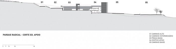Parque Radical, corte edifício de apoio, Parque Olímpico de Deodoro, Rio de Janeiro, RJ, Escritório Vigliecca & Associados<br />Imagem divulgação