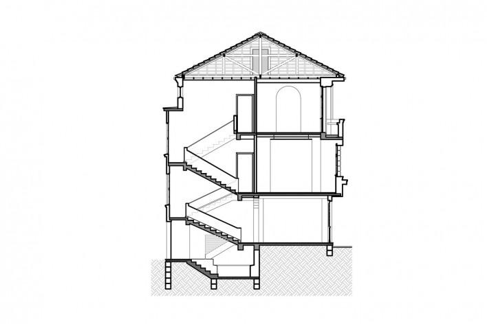 Casa Lutzenberger, corte transversal. Reforma Kiefer arquitetos