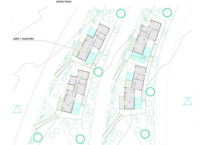 Planta baixa. Concurso Habitação para Todos. CDHU. Casas escalonadas - 2º Lugar.<br />Autores do projeto  [equipe premiada]
