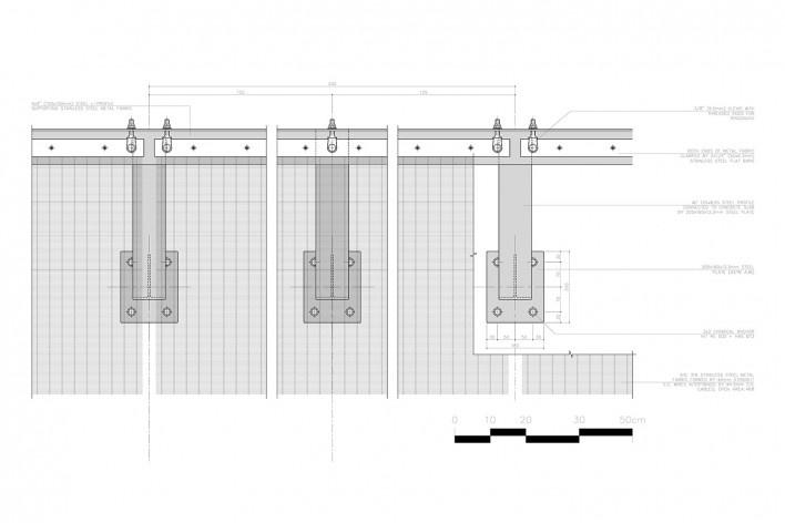 Centro Paula Souza, São Paulo, suporte do brise do piso superior (detalhe A), arquitetos Francisco Spadoni e Pedro Taddei<br />Imagem divulgação