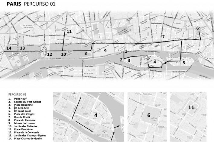 Paris, percurso 1<br />Mapa de viagem