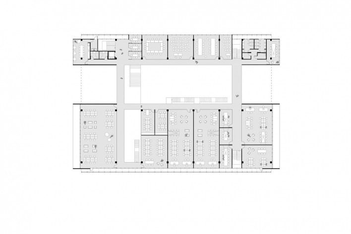 Ágora Tech Park, planta segundo pavimento, Joinville SC Brasil, 2019. Arquitetos Marcus Vinicius Damon, Guilherme Bravin e Andressa Diniz / Estúdio Módulo<br />Imagem divulgação  [Estúdio Módulo]