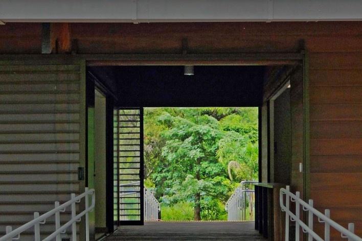 Sede Administrativa do Parque Natural Fazenda do Carmo, relação exterior-interior, São Paulo, Secretaria do Verde e Meio Ambiente – SVMA, 2018<br />Foto divulgação