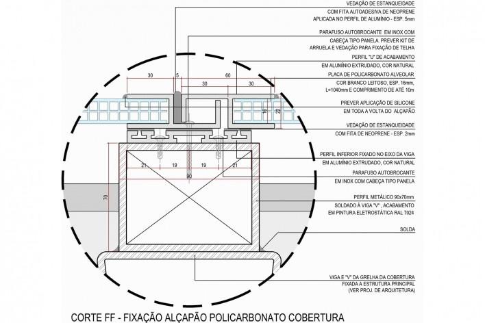 Arena da Juventude, cobertura em policarbonato corte F, Parque Olímpico de Deodoro, Rio de Janeiro, RJ, Escritório Vigliecca & Associados<br />Imagem divulgação