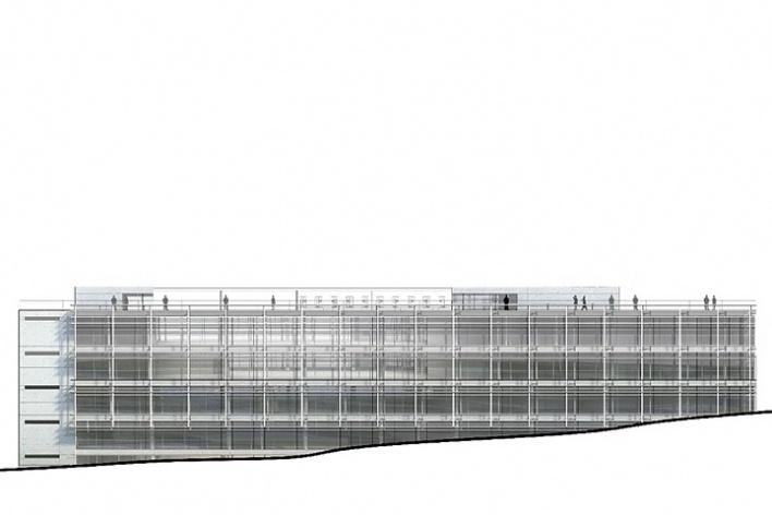 Centro de Referência em Empreendedorismo do Sebrae-MG, fachada Rua Boturobi, 2º lugar. Arquiteto Francisco Spadoni, 2008<br />Desenho escritório