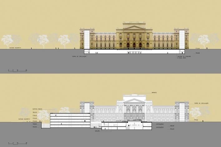 Ampliação do Museu Paulista da USP (Museu do Ipiranga), cortes EE e FF. Arquitetos Eduardo Colonelli e Silvio Oksman, 2008<br />Imagem escritório