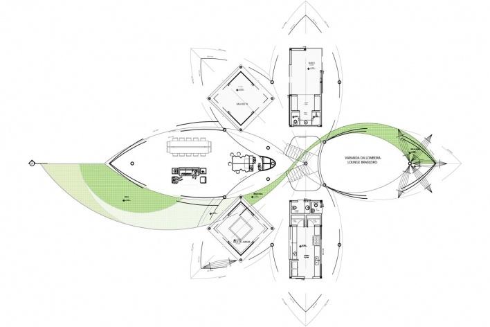 Casa Folha, planta térreo, Angra dos Reis RJ. Mareines + Patalano Arquitetura, 2008<br />Desenho Mareines + Patalano Arquitetura