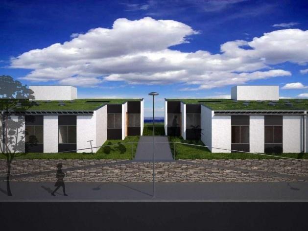 Perspectiva externa. Concurso Habitação para Todos CDHU. Casas escalonadas - Menção honrosa.<br />Autores do projeto  [equipe premiada]