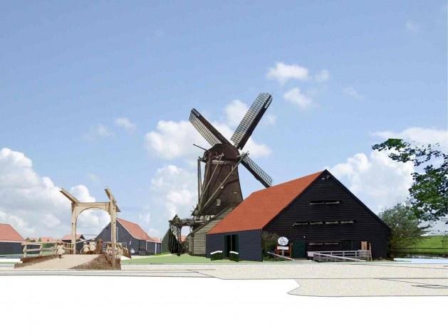 Nova entrada de Zaanse Schans em Schipperplein (com moinho)<br />Foto divulgação  [SteenhuisMeurs BV]