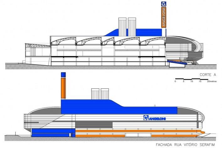 Supermercado Angeloni, corte e elevação, Criciúma, 1976-1978 (original) e 2009-2011 (reforma e ampliação). Douglas Piccolo Arquitetura