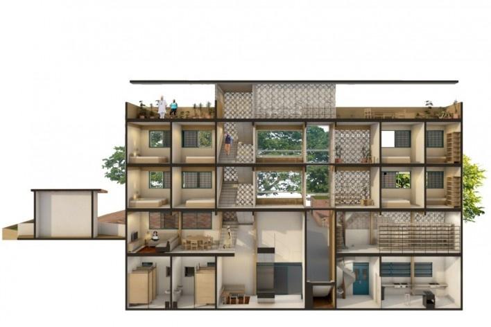 Casa de Òsùmàrè, Edifício Sacerdotal, corte, Salvador, 2017. Escritório Brasil Arquitetura<br />Imagem divulgação