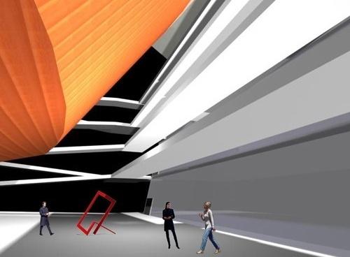 Perspectiva foyer sala 1 e sala didática<br />Imagem do autor do projeto