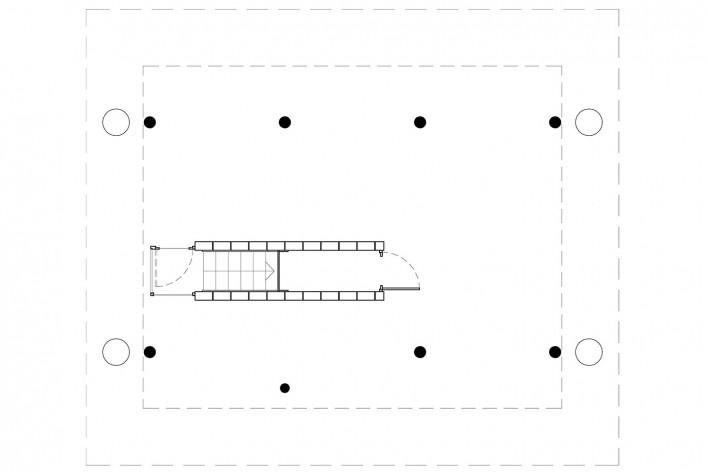 Vila Taguaí, planta terraço das casas 1, 4 e 6, Carapicuiba SP, 2007-2010. Arquitetos Cristina Xavier (autora), Henrique Fina, Lucia Hashizume e João Xavier (colaboradores)