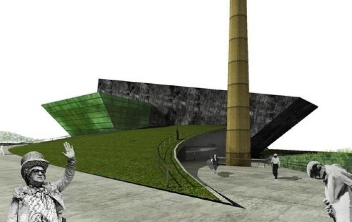 Vista da rampa de acesso principal com chaminé preservada em primeiro plano<br />Imagem do autor do projeto