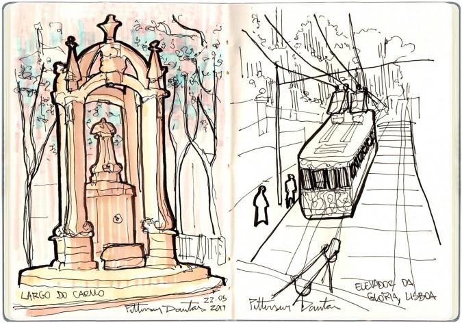 Largo do Carmo e Elevador da Glória, Lisboa, Portugal<br />Desenho de Petterson Dantas