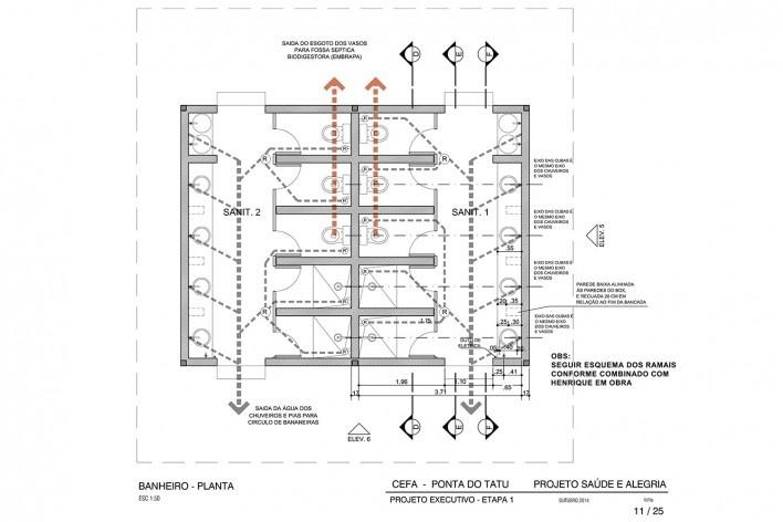 Centro Experimental Floresta Ativa - CEFA, planta do banheiro do alojamento, RESEX Tapajó-Arapiuns PA. Arquiteta Cristina Xavier<br />Imagem divulgação