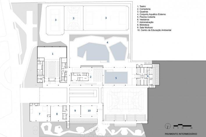 Sesc Guarulhos, planta pavimento intermediário, Guarulhos, 2019. Arquitetos Lilian Dal Pian e Renato Dal Pian / Dal Pian Arquitetos<br />Imagem divulgação  [Acervo Dal Pian Arquitetos]