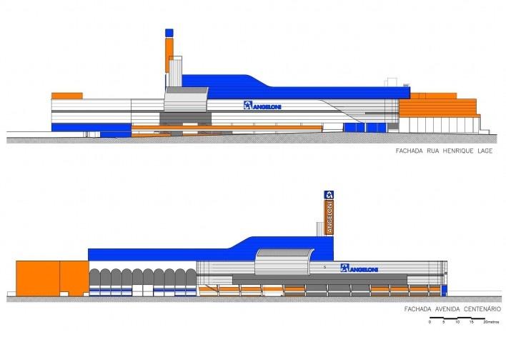 Supermercado Angeloni, elevações, Criciúma, 1976-1978 (original) e 2009-2011 (reforma e ampliação). Douglas Piccolo Arquitetura