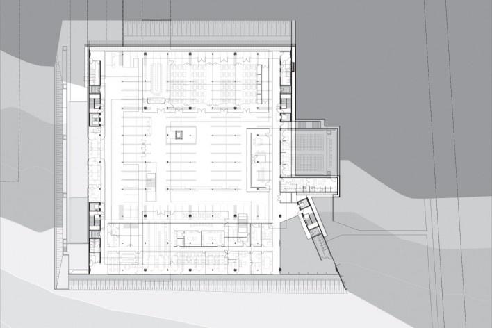 Sede do Sebrae Nacional, planta pavimento principal – nível 1062,70, Brasília DF, 2010. Arquitetos Alvaro Puntoni, Luciano Margotto, João Sodré e Jonathan Davies