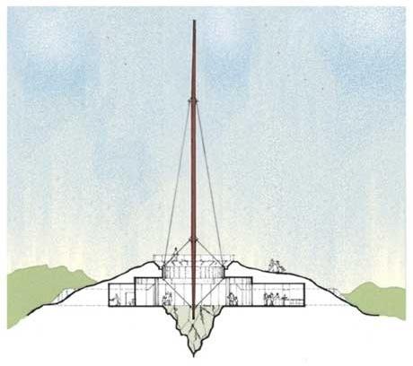 Corte longitudinal do Monumento em Porongos<br />Imagem dos autores do projeto
