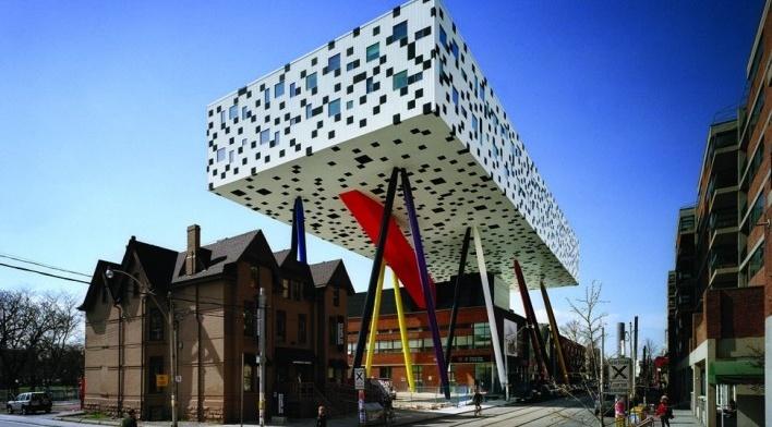 Sharp Center, exterior, Toronto, arquiteto Will Alsop, 2004<br />Foto Richard Johnson  [Alsop Architects]