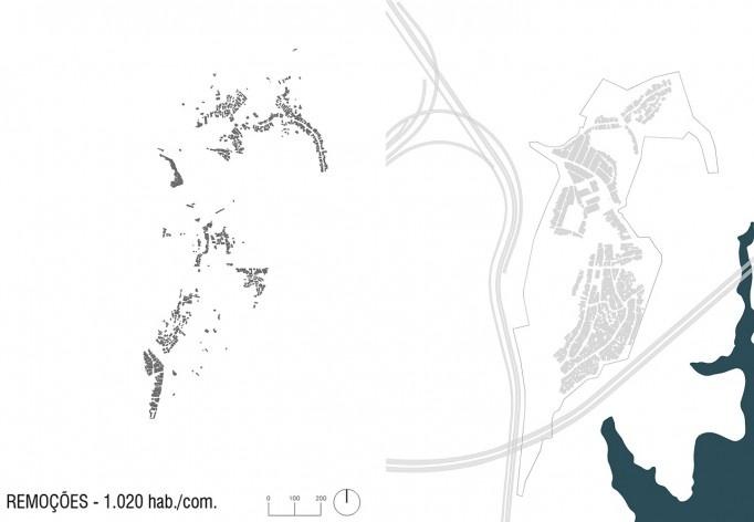 Diagrama de projeto. Remoções. Projeto de Urbanização Integrada<br />Fonte Boldarini Arquitetos Associados