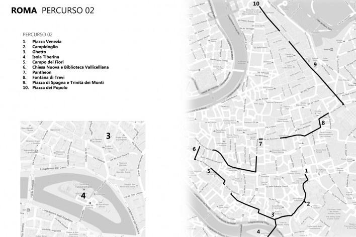 Roma, percurso 2<br />Mapa de viagem