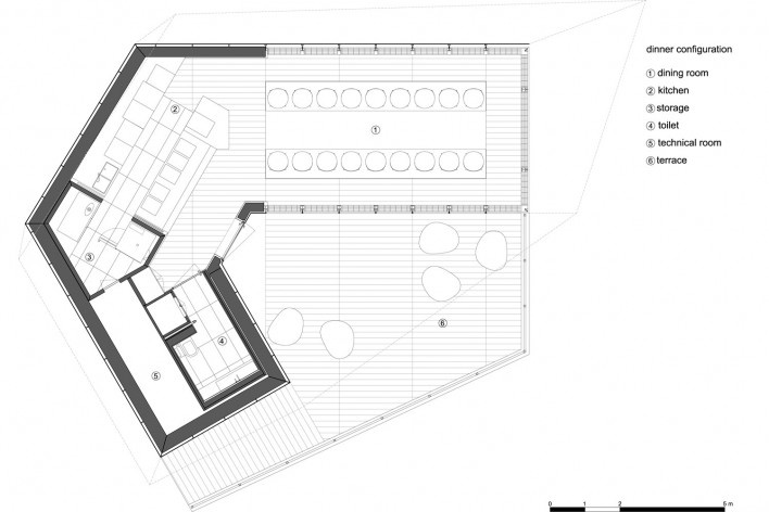 Plan, dinner configuration. The Cube, Park Associati. Brussels, 2011<br />image release