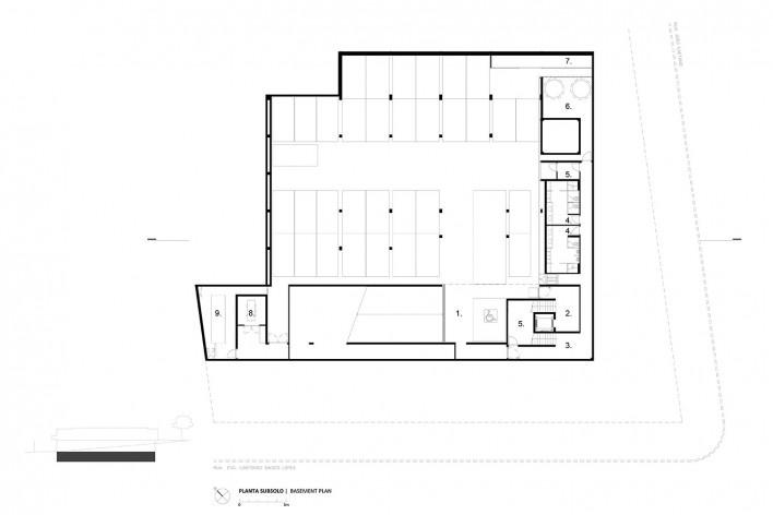 Instituto Ling, underground floor plan, Porto Alegre RS Brasil, 2014. Architect Isay Weinfeld (author)<br />Imagem divulgação / disclosure image  [Isay Weinfeld]