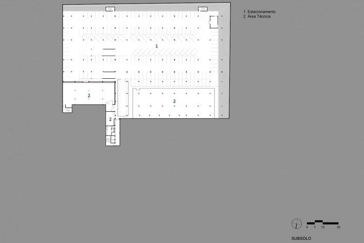 Sesc Guarulhos, planta subsolo, Guarulhos, 2019. Arquitetos Lilian Dal Pian e Renato Dal Pian / Dal Pian Arquitetos<br />Imagem divulgação  [Acervo Dal Pian Arquitetos]