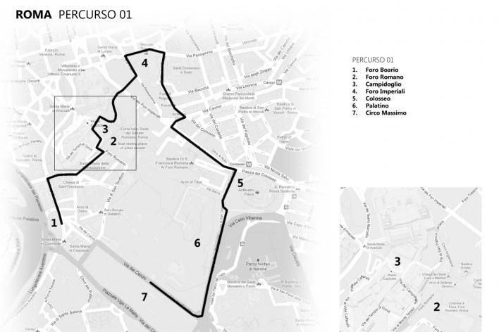 Roma, percurso 1<br />Mapa de viagem