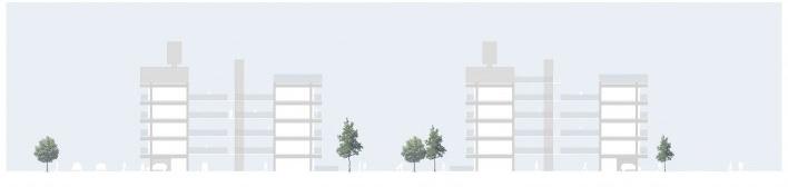Corte transversal. Concurso Habitação para Todos. CDHU. Edifícios de 6/7 pavimentos - 2º Lugar.<br />Autores do projeto  [equipe premiada]