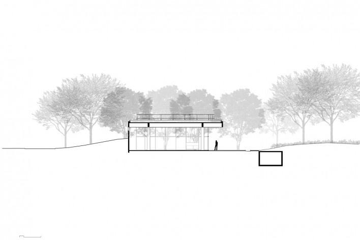 Casa em Cotia, UNA Arquitetos, 2016, corte CC<br />UNA Arquitetos