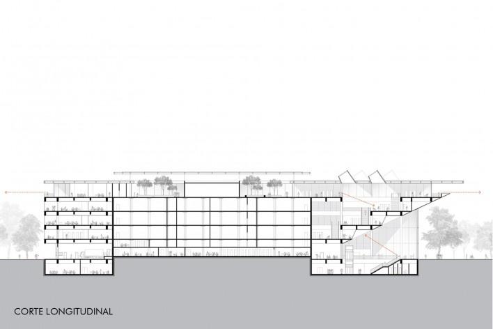 Concurso Anexo da Biblioteca Nacional, corte longitudinal, Rio de Janeiro, 3º lugar, arquiteto Renato Dal Pian<br />Imagem divulgação