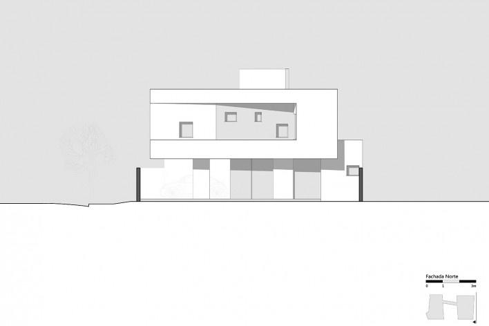 Casa 2V, elevação Norte, Porto Alegre RS Brasil, 2013. Arquitetos Diego Brasil e Anderson Calvi / BR3 Arquitetos<br />Imagem divulgação  [BR3 Arquitetos]