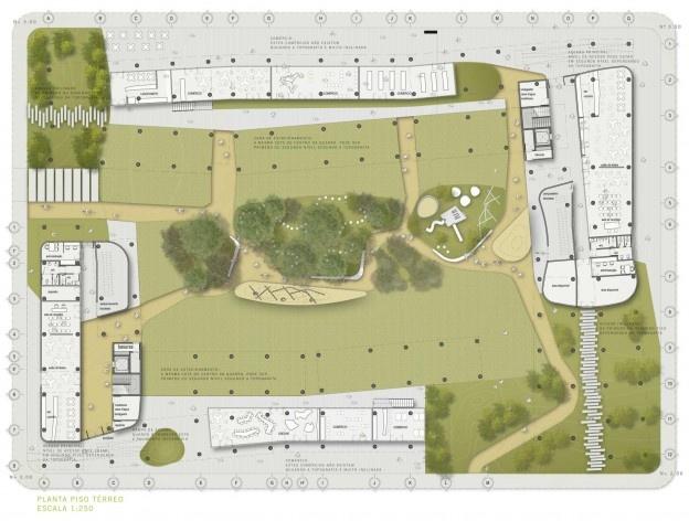 Planta geral térreo.Concurso Habitação para Todos. CDHU. Edifícios de 6/7 pavimentos - 1º Lugar.<br />Autores do projeto  [equipe vencedora]