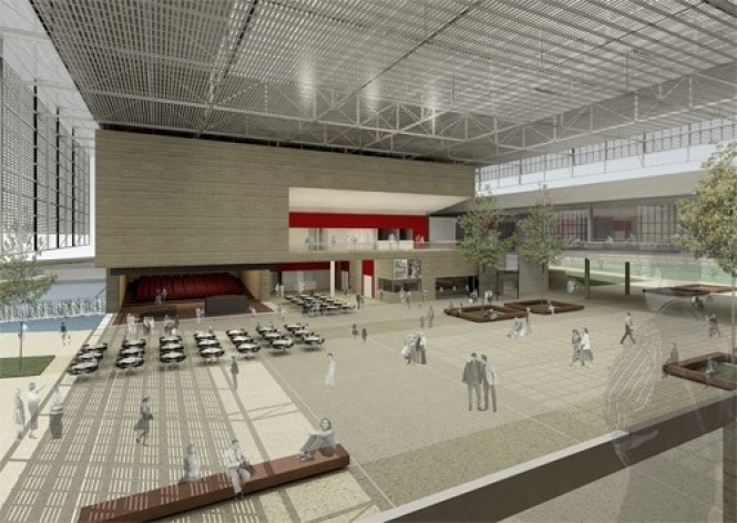 Boulevard cultural - vista foyer teatro 2 e black box<br />Imagem do autor do projeto